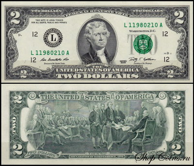 США 2 доллара 2009 (UNC Pick **) Federal Reserve Note
