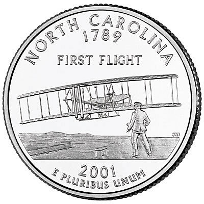 США. 25 центов 2001-P (UNC) North Carolina