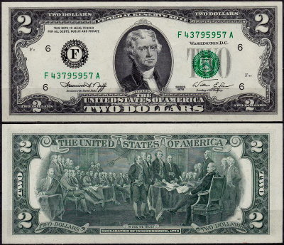 США 2 доллара 1976 (UNC Pick 461) Federal Reserve Note