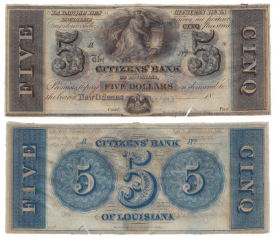 США 5 долларов 1860-е (AUNC) Новый Орлеан, Луизиана. Citizens' Bank
