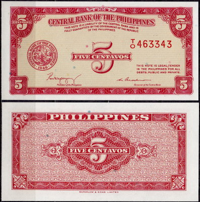 Филиппины 5 сентаво 1949 (UNC Pick 126) Printer W&S