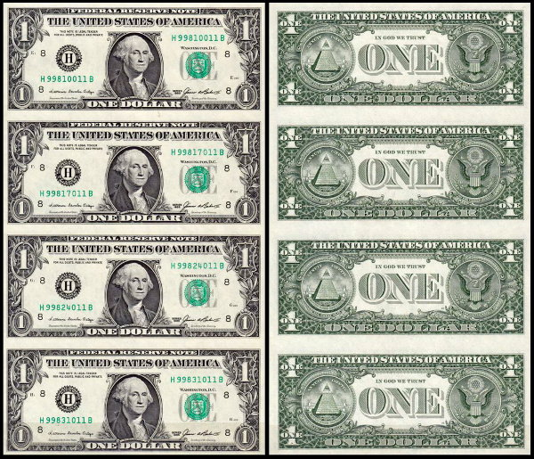 США 1 доллар 1985 (UNC Pick 474) Federal Reserve Note. 1/8 листа