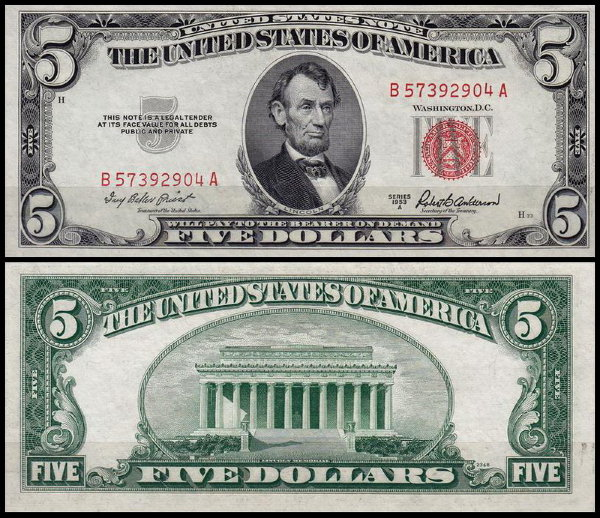 США 5 долларов 1953A (UNC Pick 381a) United States Note