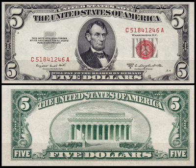 США 5 долларов 1953B (UNC Pick 381b) United States Note