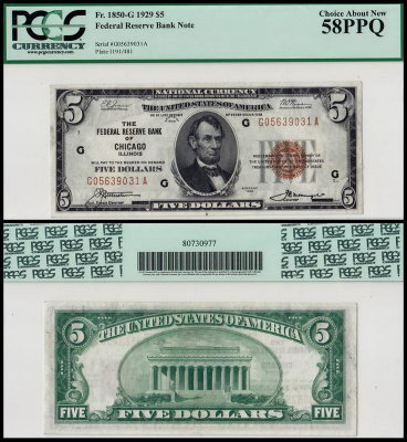 США 5 долларов 1929 (AUNC Pick 395) National Currency. PCGS58