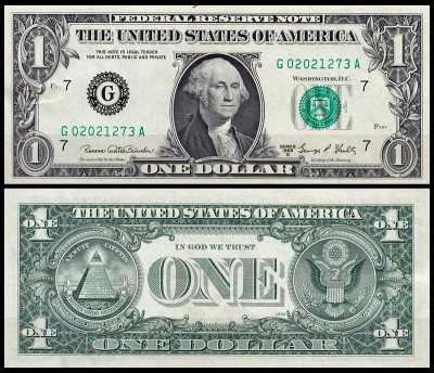 США 1 доллар 1969D (UNC Pick 449e) Federal Reserve Note