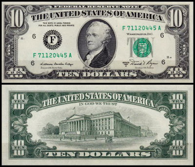 США 10 долларов 1981A (UNC Pick 470b) Federal Reserve Note