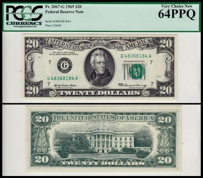 США 20 долларов 1969 (UNC Pick 452a) Federal Reserve Note. PCGS64