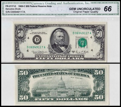 США 50 долларов 1969C (UNC Pick 453d) Federal Reserve Note. CGA66