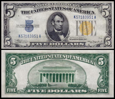 США 5 долларов 1934A (AUNC Pick 416AY) Silver Certificate