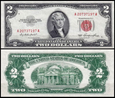 США 2 доллара 1953 (UNC Pick 380) United States Note