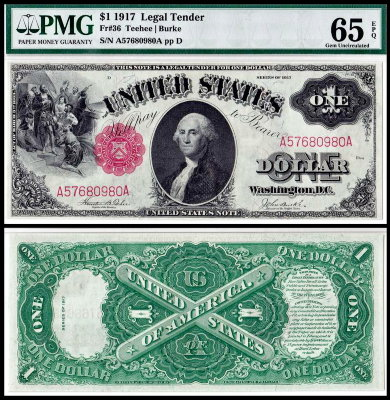 США 1 доллар 1917 (UNC Pick 187) Legal Tender Notes. PMG65