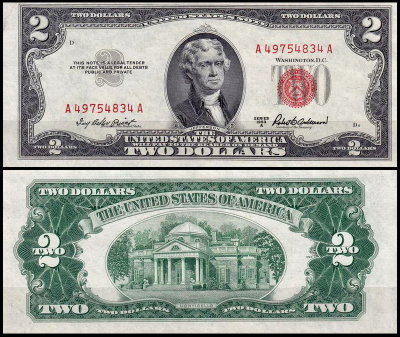 США 2 доллара 1953A (UNC Pick 380a) United States Note