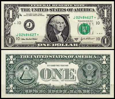 США 1 доллар 2003A (UNC Pick 515b) Federal Reserve Note. Номер со звездой