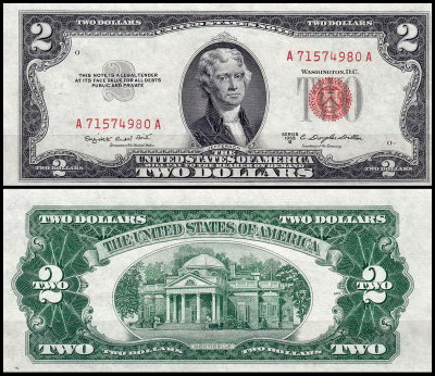 США 2 доллара 1953B (UNC Pick 380b) United States Note