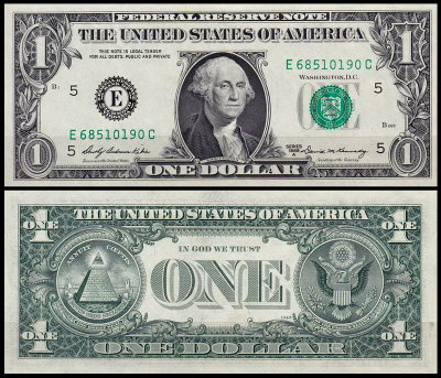 США 1 доллар 1969A (UNC Pick 449b) Federal Reserve Note