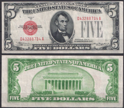 США 5 долларов 1928B (UNC Pick 379b) United States Note