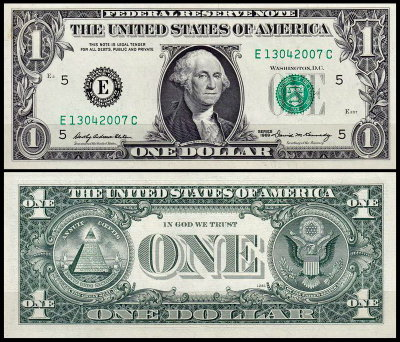 США 1 доллар 1969 (UNC Pick 449a) Federal Reserve Note