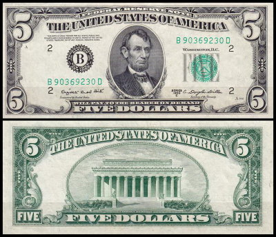США 5 долларов 1950C (UNC Pick 438c) Federal Reserve Note