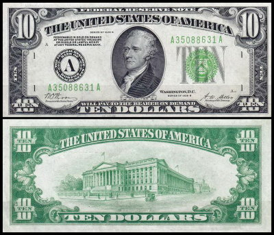 США 10 долларов 1928B (UNC Pick 421b) Federal Reserve Note