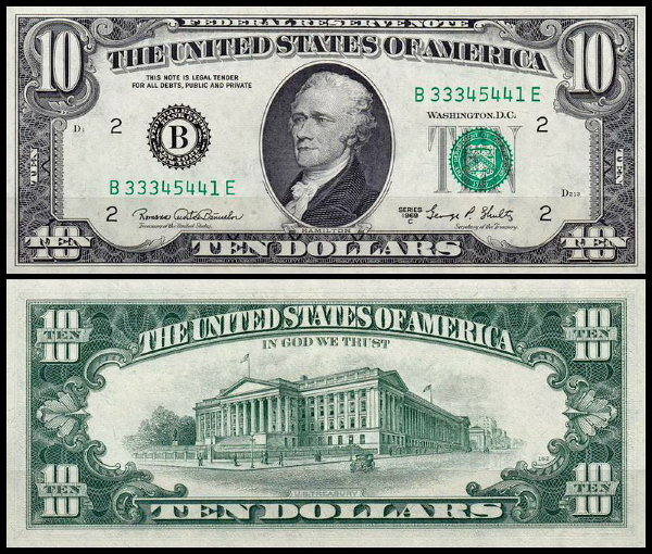 США 10 долларов 1969C (UNC Pick 451d) Federal Reserve Note