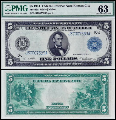 США 5 долларов 1914 (UNC Pick 359) Federal Reserve Notes. PMG63